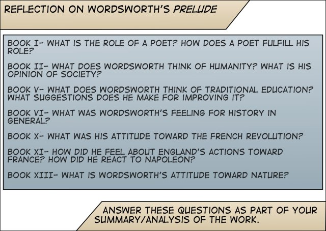 Prelude-Wordsworth Questions