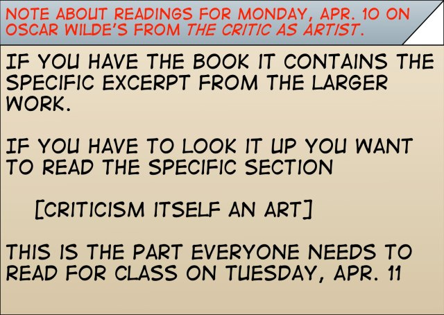 Reading for Artist as Critic